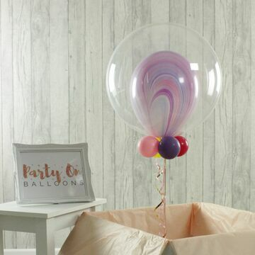 Personalised Marble Unicorn Bubble Balloon