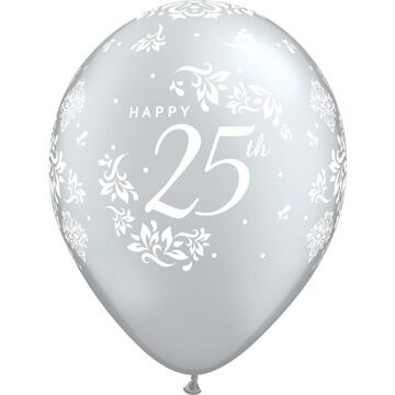 Pack of 6 25th Anniversary Silver Helium Quality Balloons