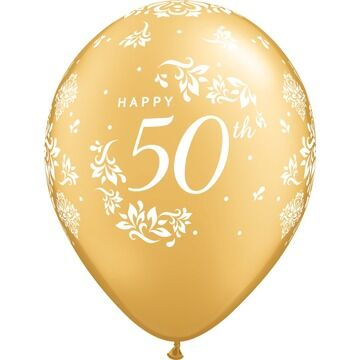Pack of 6 50th Anniversary Silver Helium Quality Balloons