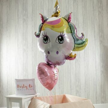Unicorn Head & Personalised Foil Balloon Set