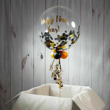 Personalised Hollywood Black & Gold Confetti Bubble Balloon
