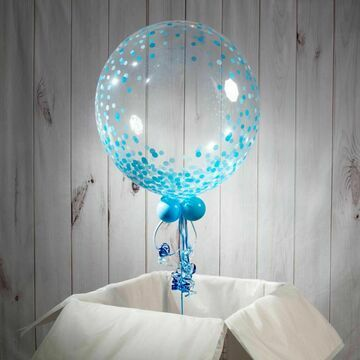 Christening / Baptism Personalised Blue 'Confetti Print' Bubble Balloon