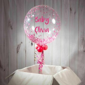New Baby Personalised Pink 'Confetti Print' Bubble Balloon