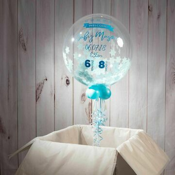 'Welcome Baby Boy' Personalised Blue Star Confetti Balloon