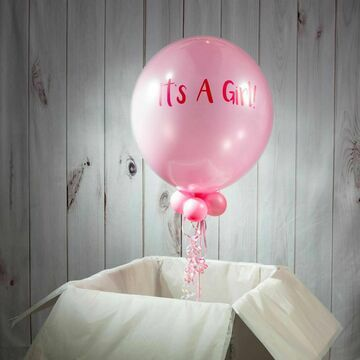 Solid Baby Pink Personalised Bubble Balloon