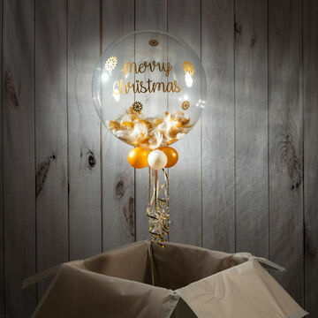 Gold & White Feather 'Merry Christmas' Bubble Balloon
