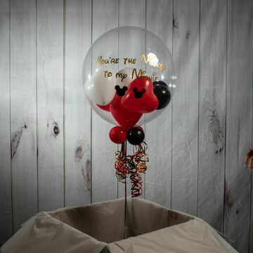 Personalised Mickey Mouse Themed Heart Balloon-Filled Bubble Balloon
