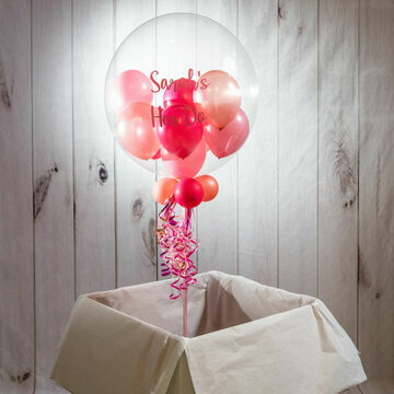Personalised Pink Glamour Balloon-Filled Bubble Balloon
