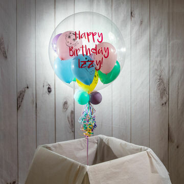 Personalised Pastel Unicorn Heads Balloon-Filled Bubble Balloon