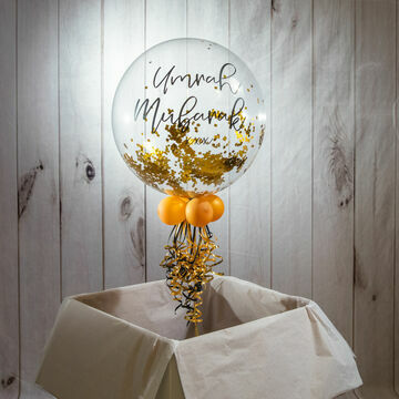 Personalised Gold 'Powderfetti' Bubble Balloon