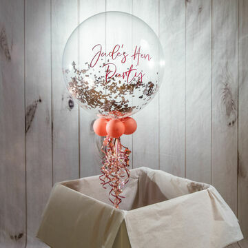 Personalised Rose Gold 'Powderfetti' Bubble Balloon