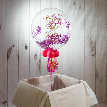 Personalised Hot Pink 'Powderfetti' Bubble Balloon