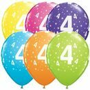 Pack of 6 4th Birthday Assorted Colour Helium Quality Balloons additional 1