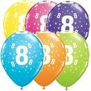 Pack of 6 8th Birthday Assorted Colour Helium Quality Balloons additional 1