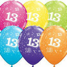 Pack of 6 13th Birthday Assorted Colour Helium Quality Balloons additional 1