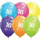 Pack of 6 16th Birthday Assorted Colour Helium Quality Balloons additional 1
