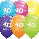 Pack of 6 40th Birthday Assorted Colour Helium Quality Balloons additional 1