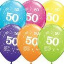 Pack of 6 50th Birthday Assorted Colour Helium Quality Balloons additional 1