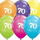 Pack of 6 70th Birthday Assorted Colour Helium Quality Balloons additional 1