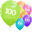 Pack of 6 100th Birthday Assorted Colour Helium Quality Balloons additional 1