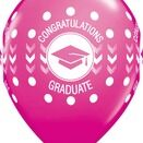 Pack of 6 Graduation Print Pink Helium Quality Balloons additional 1