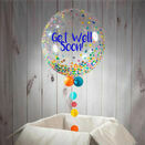 Personalised 'Get Well Soon' Rainbow Confetti Print Bubble Balloon additional 1