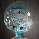 'Welcome Baby Boy' Personalised Blue Star Confetti Balloon additional 2