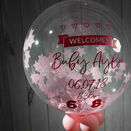 'Welcome Baby Girl' Personalised Pink Star Confetti Balloon additional 2