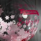 'Welcome Baby Girl' Personalised Pink Star Confetti Balloon additional 3
