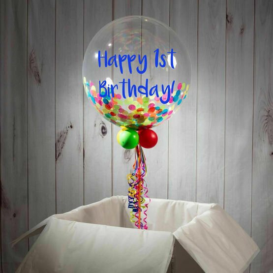 1st Birthday Personalised Confetti Bubble Balloon