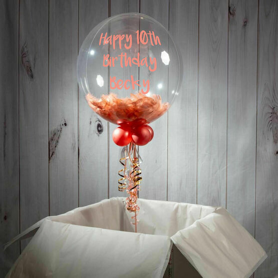 10th Birthday Personalised Feather Bubble Balloon