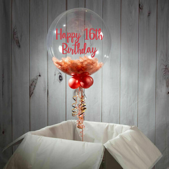 16th Birthday Personalised Feather Bubble Balloon