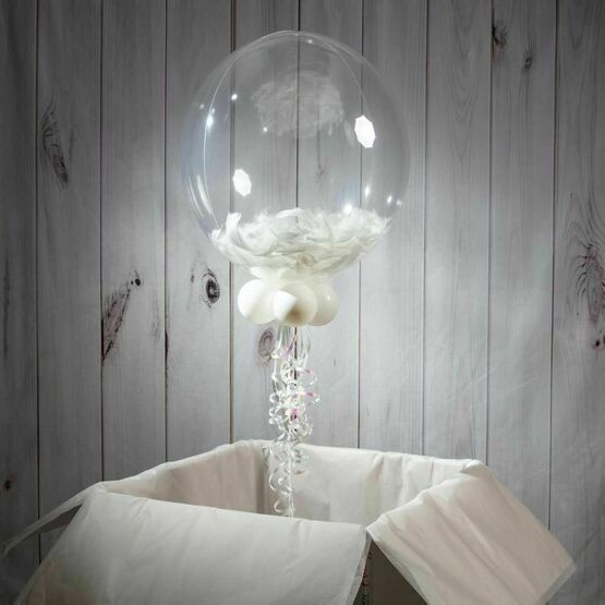 Wedding Day Personalised Feather Bubble Balloon