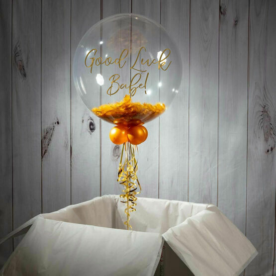 Good Luck Personalised Feather Bubble Balloon