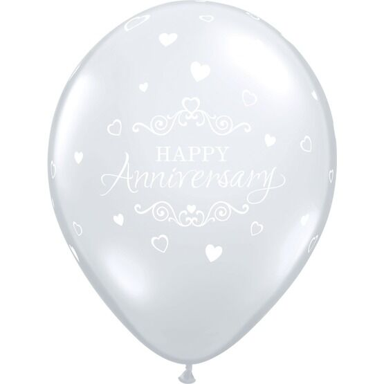 Pack of 6 Happy Anniversary Clear Helium Quality Balloons
