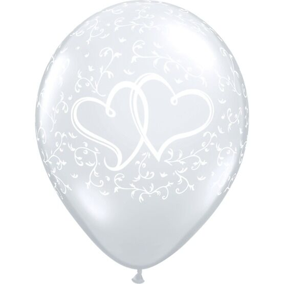 Pack of 6 Entwined Hearts Clear Wedding Balloons