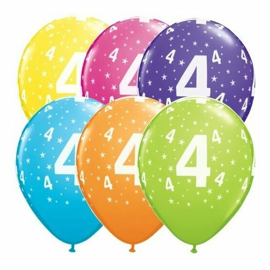 Pack of 6 4th Birthday Assorted Colour Helium Quality Balloons