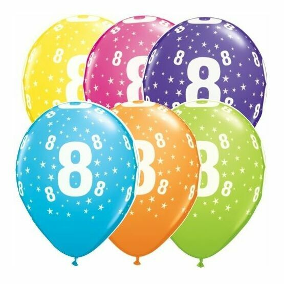 Pack of 6 8th Birthday Assorted Colour Helium Quality Balloons