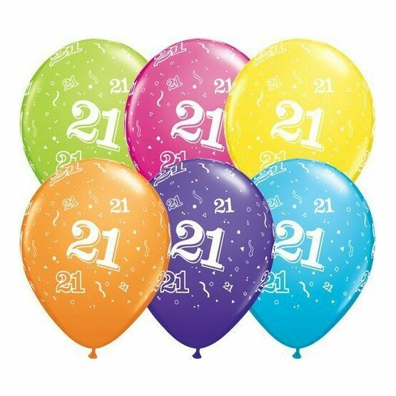 Pack of 6 21st Birthday Assorted Colour Helium Quality Balloons