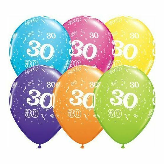 Pack of 6 30th Birthday Assorted Colour Helium Quality Balloons