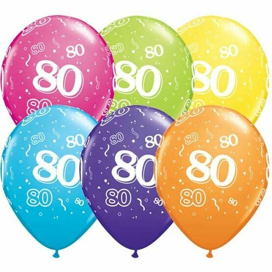 Pack of 6 80th Birthday Assorted Colour Helium Quality Balloons