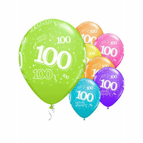 Pack of 6 100th Birthday Assorted Colour Helium Quality Balloons