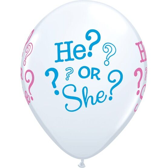 Pack of 6 He or She Gender Reveal Helium Balloons