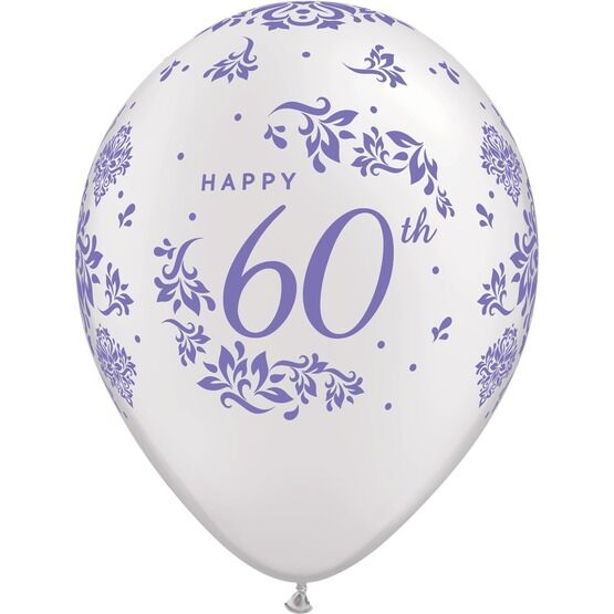 Pack of 6 60th Anniversary Helium Quality Balloons