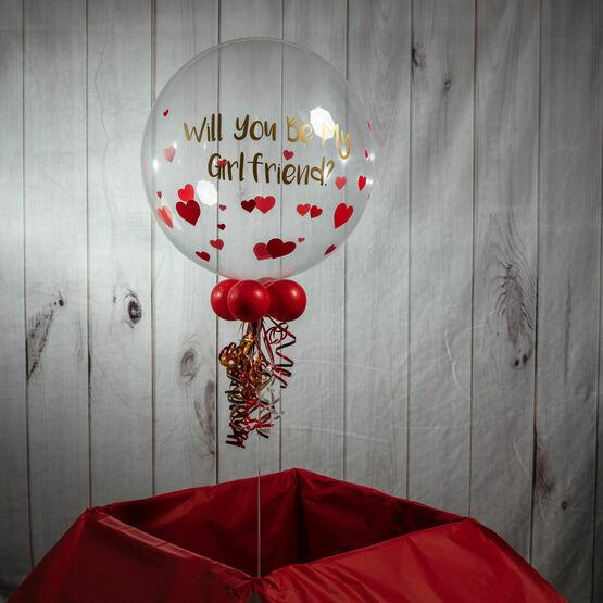 Personalised Vinyl Hearts Valentine\'s Day Bubble Balloon