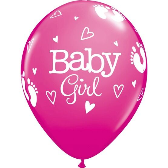 Pack of 6 Baby Girl Helium Quality Balloons