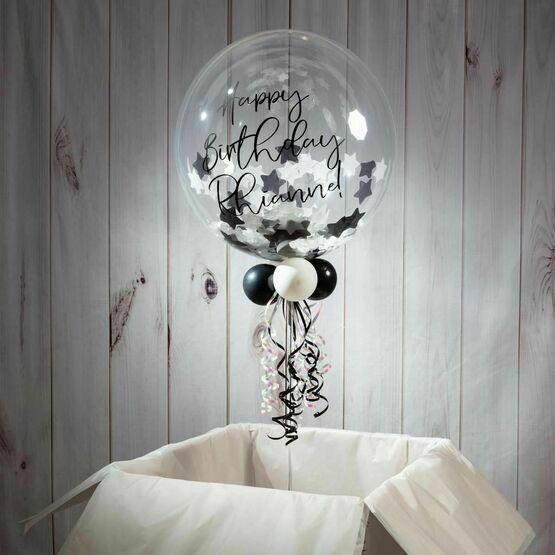 Personalised Black & White Stars Confetti Bubble Balloon