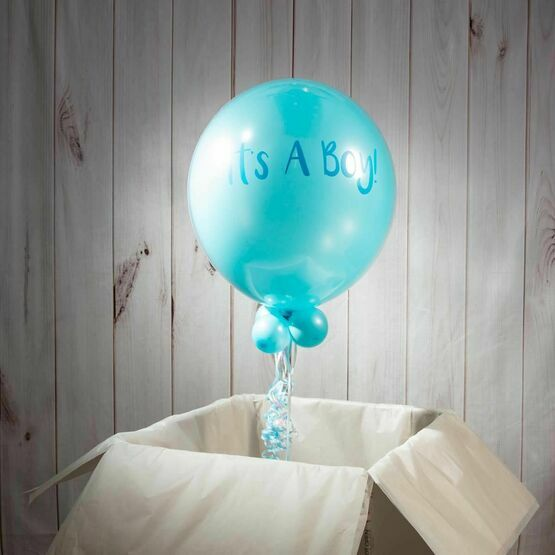 Solid Baby Blue Personalised Bubble Balloon