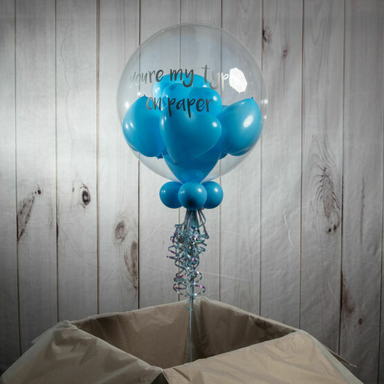Personalised Blue Heart Balloon-Filled Bubble Balloon