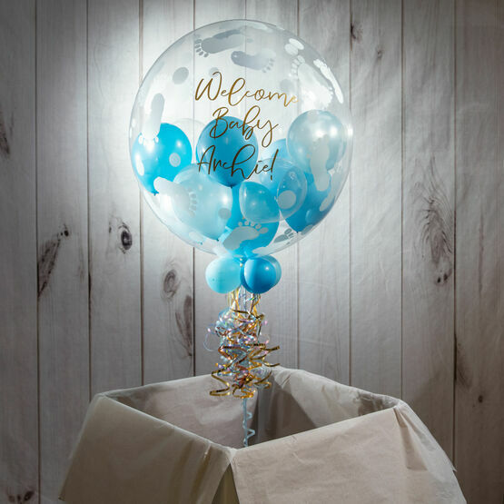 Personalised Light Blue Balloon-Filled Baby Feet Print Bubble Balloon